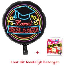 Geslaagd bezorg pakket | folieballon + kaart