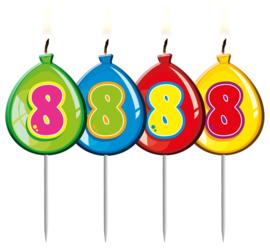 Kaarsjes 8 jaar balloons