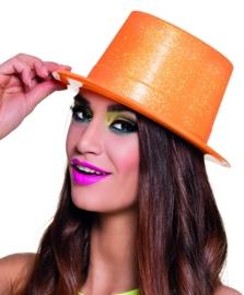 Hoge hoed glitter neon oranje