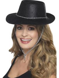 Cowboy glitter hoed zwart