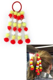 Haarelastiek rood, wit en geel