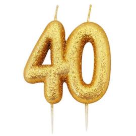 Nummerkaars glitter goud '40'