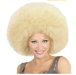 Pruik afro extra groot blond