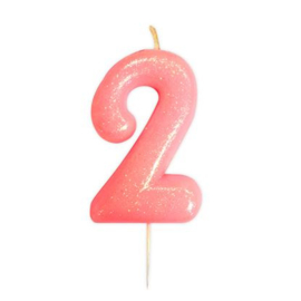 Nummerkaars glitter roze '2'