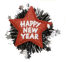 Broche happy new year rood