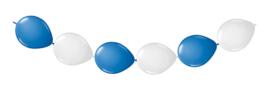 Doorknoopballonnen blauw wit