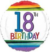 Folieballon rainbow '18' (43cm)