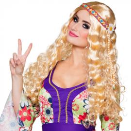 Hippie pruik dames met hoofdband
