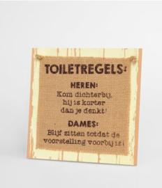 Wooden sign - Toiletregels |