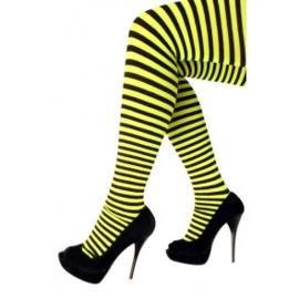 Panty zwart geel gestreept