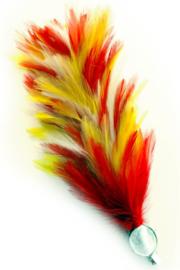 Verenpluim rood / wit / geel 30cm clip