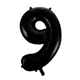 Folieballon cijfer zwart 86cm | 9 |