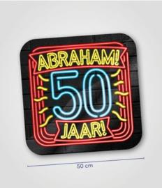 Deurbord neon 50 jaar Abraham