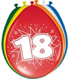 Ballonnen 18 jaar (assorti kleuren)