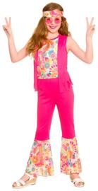 Groovy hippie meisjes kostuum roze