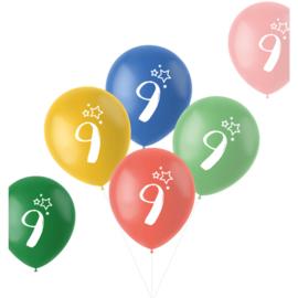 Retro ballonnen 9 jaar   33cm / 6 stuks
