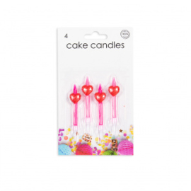 4 Cake kaarsjes Heart