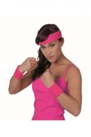 Zweetbandjes neon pink