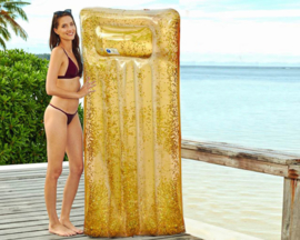 Opblaasbaar luchtbed glitter goud 181x82x22cm