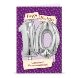 Leeftijd ballonnen kaart 10 jaar