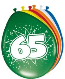 Ballonnen 65 jaar (assorti kleuren)