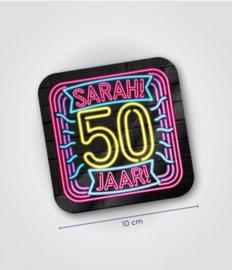 Neon onderzetters 50 jaar Sarah