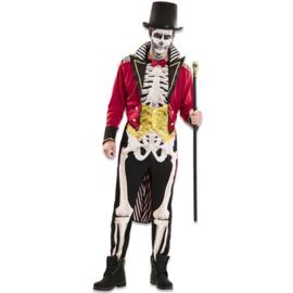 Circus artiest skelet kostuum