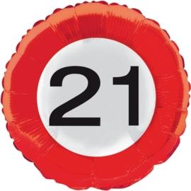 21 jaar folieballon verkeersbord