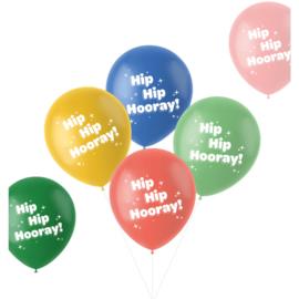 Retro ballonnen hip hip hooray   33cm / 6 stuks