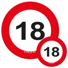 Tafelconfetti 18 jaar verkeersbord