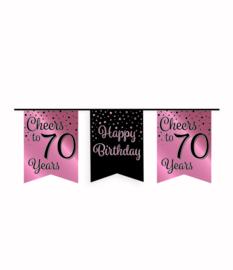Party vlaggenlijn rose/goud - 70