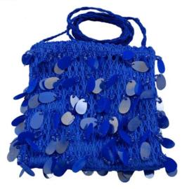 Schoudertasje pailletten blauw