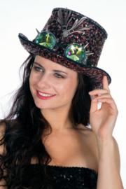 Hoge hoed Burning Man (met bril)