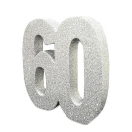 Tafeldecoratie 60 glitter zilver
