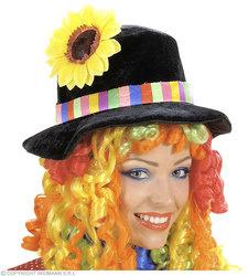 Clownshoed met bloem en pruik