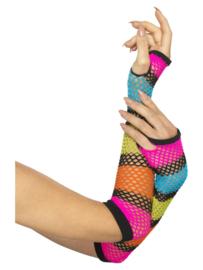 Handschoenen net neon zwart regenboog