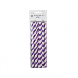 20  Papieren rietjes 6mm x 197mm striped paars