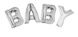 Ballonset 96cm Baby met lint Zilver
