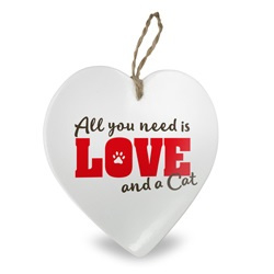 All you need is love and a Cat | Stenen deco hart