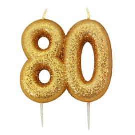 Nummerkaars glitter goud '80'