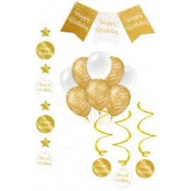Verjaardag Feestpakket 4 delig goud   happy birthday