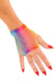 Handschoenen net kort regenboog