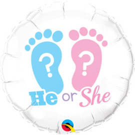 Folieballon He or She? Gender reveal party
