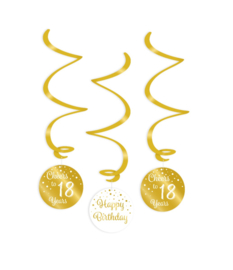 Swirl decorations goud/wit - 18