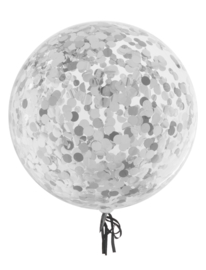 Confetti ballonnen zilver 45 cm