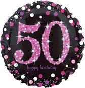 Folieballon HBD sparkling pink 50 (45cm)