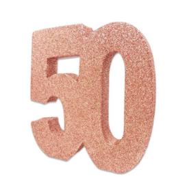 Tafeldecoratie 50 glitter rosegoud