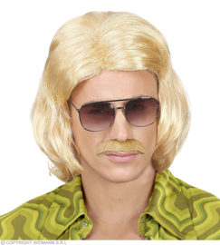Pruik 70's dandy blond met snor