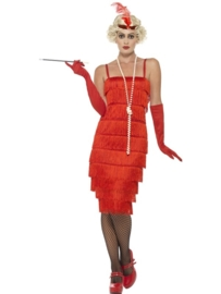 Flapper jurkje lang rood