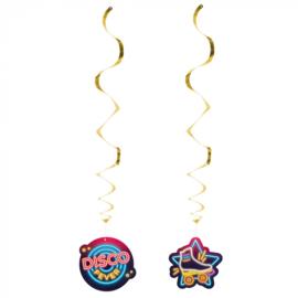 Set 2 Decoratieswirls 'Disco fever' dubbelzijdig (85 cm)